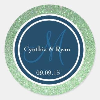 Green Glitter & Prussian Blue Wedding Monogram Round Sticker