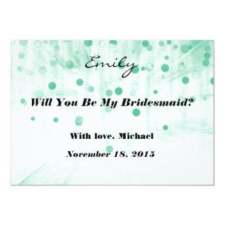 Green Glitter Will you be my Bridesmaid Invitation