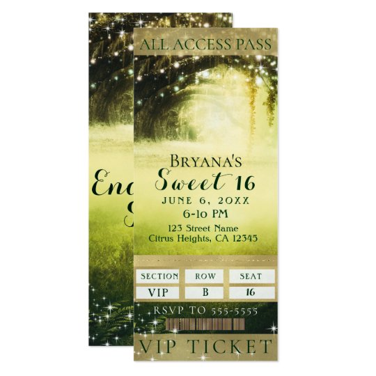 Green Glow Forest & Sparkle Lights Sweet 16 Ticket Card