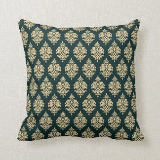 Green,Gold,Damask Pattern Throw Pillow