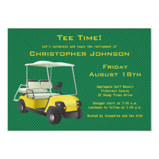 Green Gold Golf Cart Retirement Party Invitation