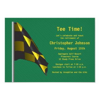 Green Gold Golf Flag Retirement Party Invitation