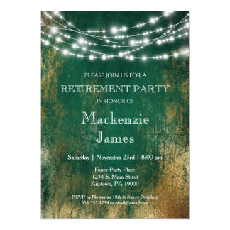 Green Gold Lights Retirement Party Invitation