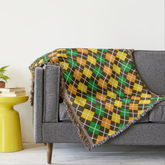 Green Gold Orange and Brown Argyle Throw Blanket