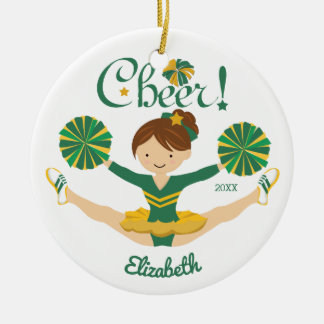 Green & Gold Personalized Brunette Cheerleader Christmas Ornament