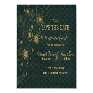 green gold Snowflakes Winter save the date Magnetic Invitations