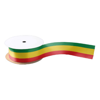 Green, Gold (Yellow) and Red Colors Flag Satin Ribbon