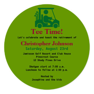 Green Golfer in cart Retirement Party Invitation