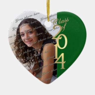 Green Graduation Class of 2014 Ceramic Heart Decoration