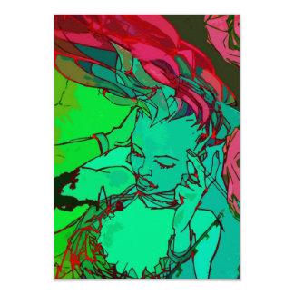 Green graffiti girl 9 cm x 13 cm invitation card