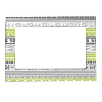 Green Gray Abstract Aztec Tribal Print Pattern Magnetic Frame