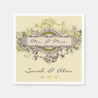 Green Gray Floral Vintage Wedding Paper Napkins