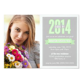 "Green Grey Banner Class of 2014 Photo Graduation 5"" X 7"" Invitation Card"