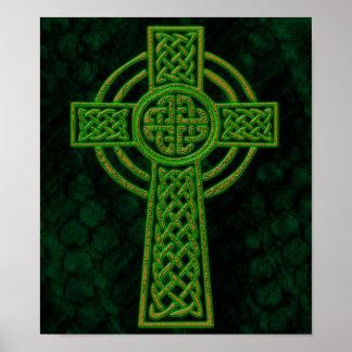 Green Grunge Celtic Cross Poster