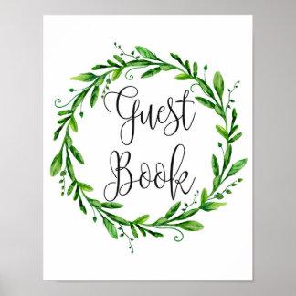 Green guest book sign poster. Summer wedding print