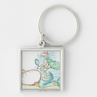 Green-haired mermaid wearing large selection of Silver-Colored square key ring