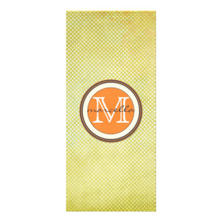 Green Halftone Orange Monogram Personalized Rack Card