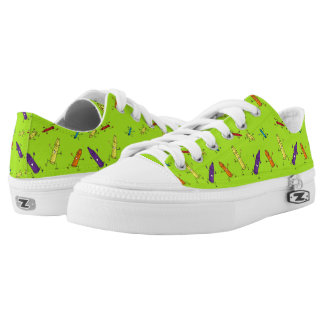 Green happy crayon shoes printed shoes