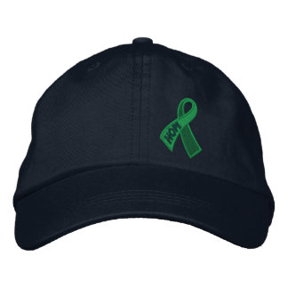 Green Health Hope Ribbon Awareness Embroidered Hats