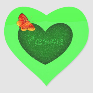Green heart peace and butterfly heart shape sticke stickers