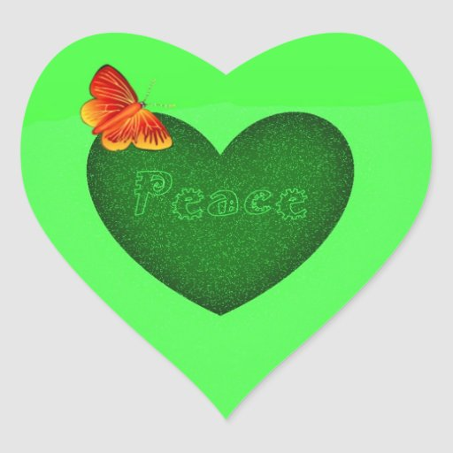 Green heart peace and butterfly heart shape sticke stickers