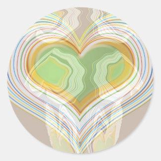 Green Heart Spice Lables Round Sticker