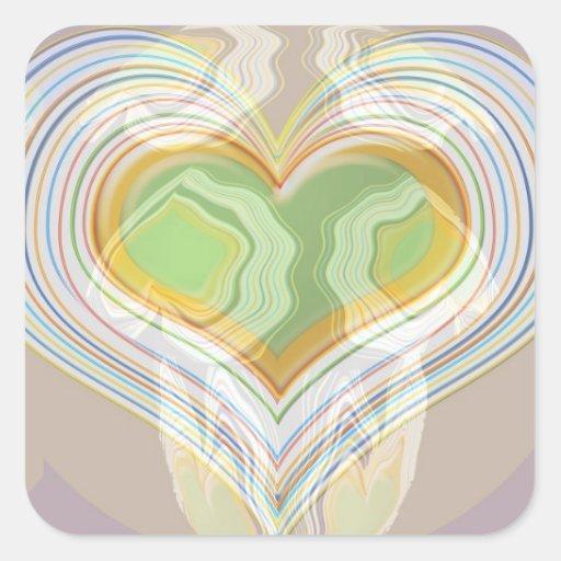 Green Heart Spice Lables Square Sticker