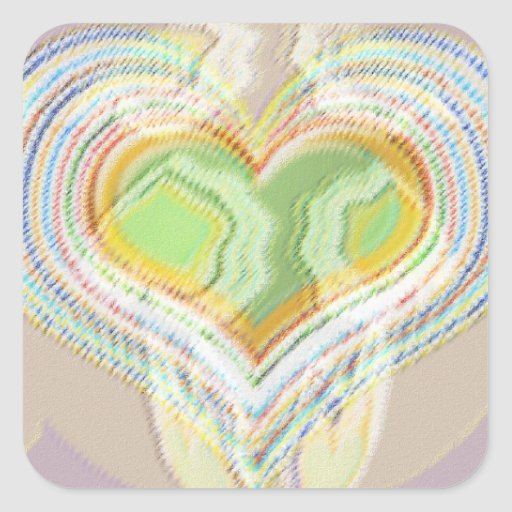 Green Heart Spice Lables Square Stickers
