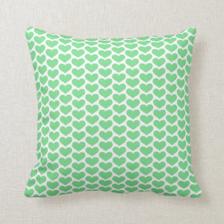 Green Hearts Pattern Pillow Throw Cushion