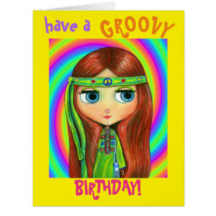 Green Hippie Doll Girl Peace Sign Headband Cute