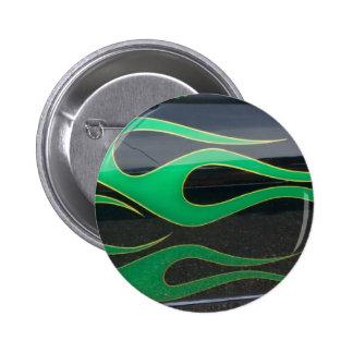 green hotrod flames on black 6 cm round badge