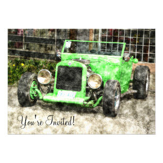 Green Hotrod Vintage Classic Car Painted Style Announcements