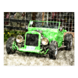 Green Hotrod Vintage Classic Car Painted Style Postcard