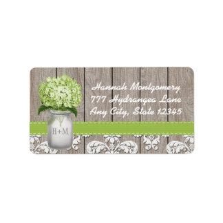 Green Hydrangea Monogrammed Mason Jar Label