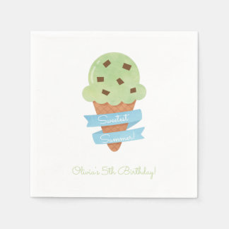 Green Ice Cream Cone Kids Birthday Party Napkins Disposable Napkins