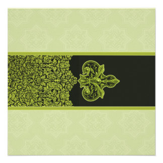 Green Indian Floral Ornament Wedding Invitation
