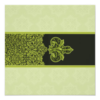 Green Indian Floral Ornament Wedding Invitation