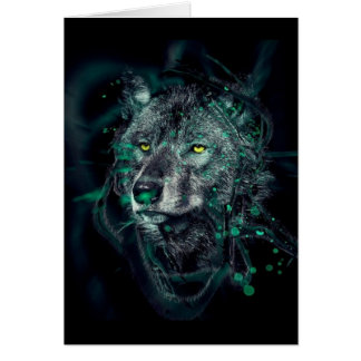 Green indian wolf card