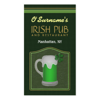 Green Irish Pub Manager Bar Tender Business Cards