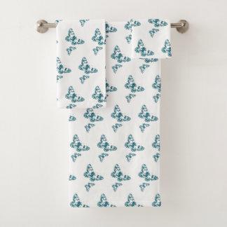 Green Japanese Batik Butterflies Stamped Section Bath Towel Set