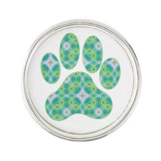 Green Kaleidoscope Infinity Paw Print Design Lapel Pin