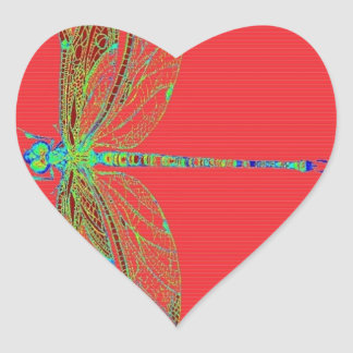 Green Lace wing Deagonfly by Sharles Heart Sticker