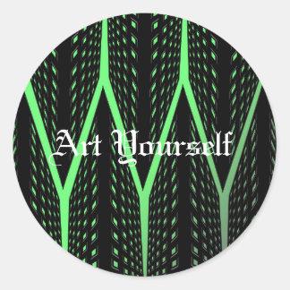 Green Laser Pattern Round Sticker