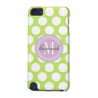 Green & Lavender Big Polka Dots Monogrammed iPod Touch (5th Generation) Cases