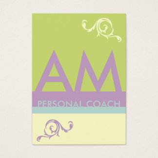 Green Lavender Minimalistic Monogram Appointment Business Card