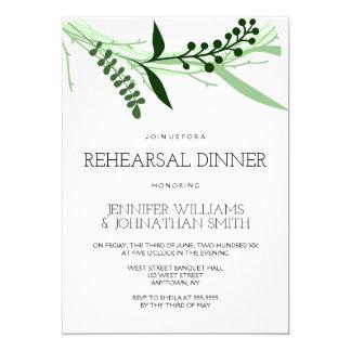 Green leaves rehearsal dinner invitations