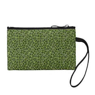 Green leo print coin purse