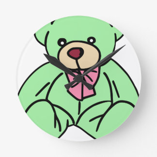 Green Lovable Teddy Bear Wall Clock