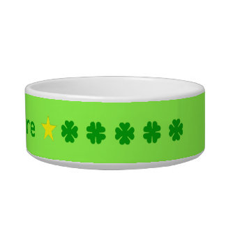 Green lucky four-leaf clover personalized cat food bowl