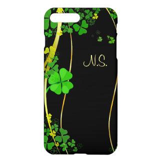 Green Lucky Shamrock  black faux glitter wave iPhone 8 Plus/7 Plus Case
